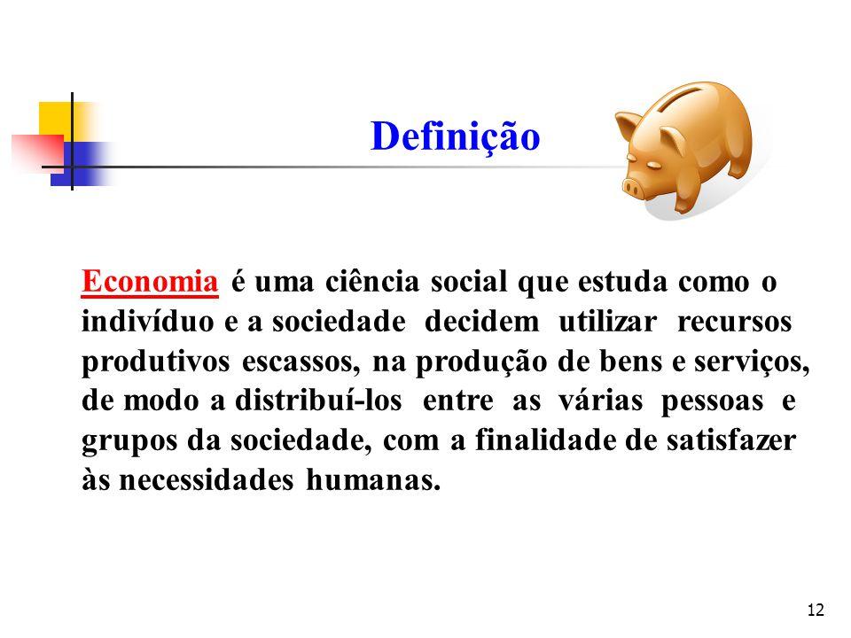 Definição Economia é uma ciência social que estuda como o