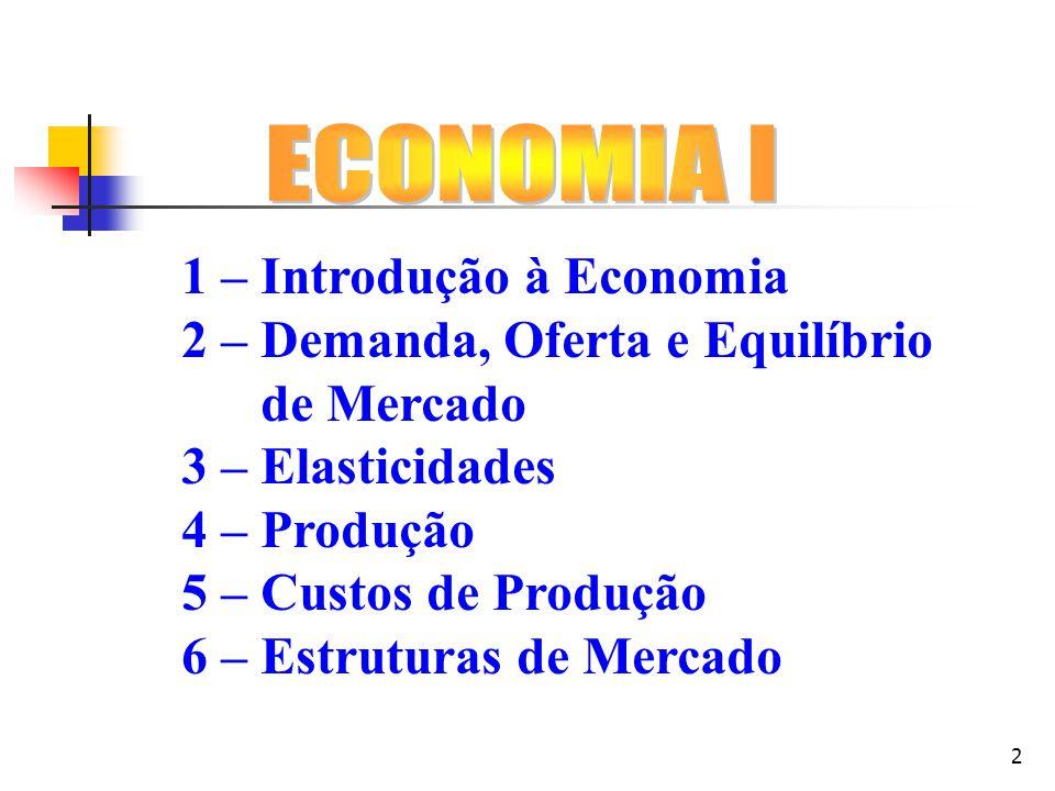 ECONOMIA I 1 – Introdução à Economia. 2 – Demanda, Oferta e Equilíbrio. de Mercado. 3 – Elasticidades.