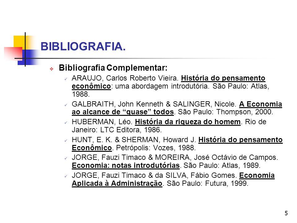 BIBLIOGRAFIA. Bibliografia Complementar: