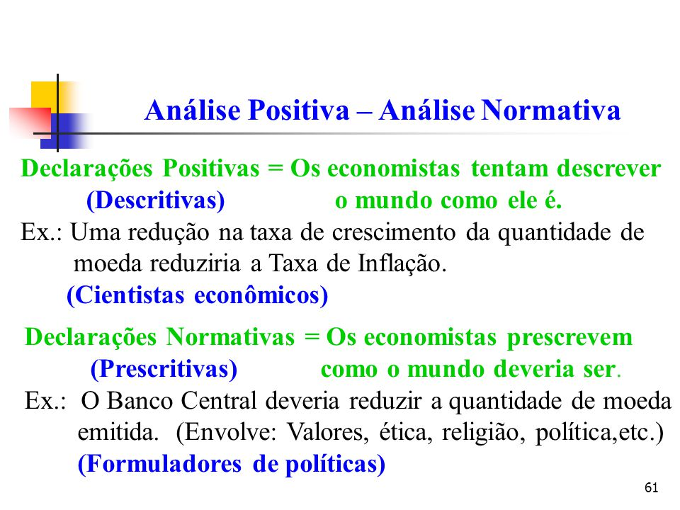 Análise Positiva – Análise Normativa