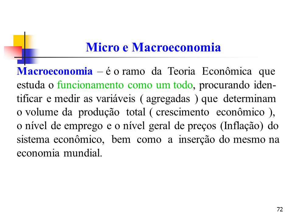 Micro e Macroeconomia Macroeconomia – é o ramo da Teoria Econômica que
