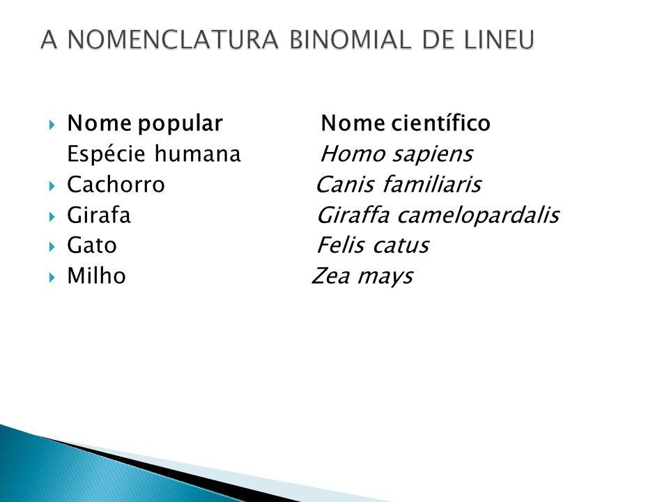 A NOMENCLATURA BINOMIAL DE LINEU