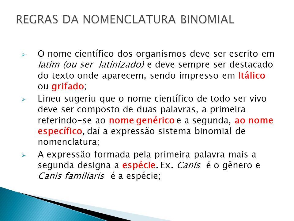REGRAS DA NOMENCLATURA BINOMIAL