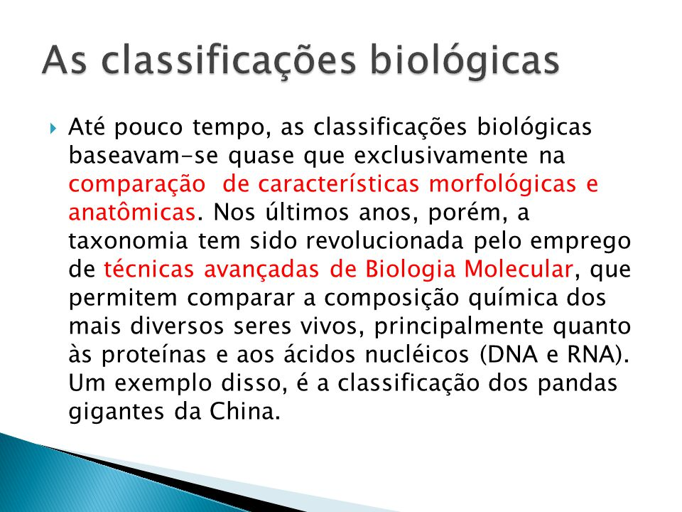 As classificações biológicas