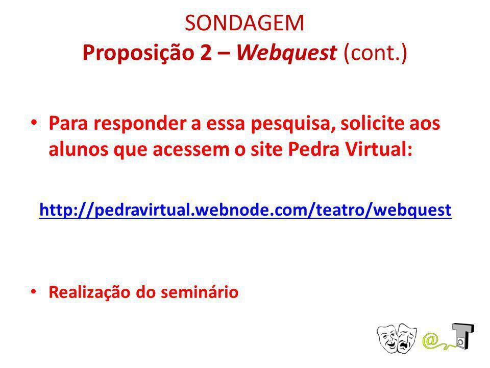 SONDAGEM Proposição 2 – Webquest (cont.)