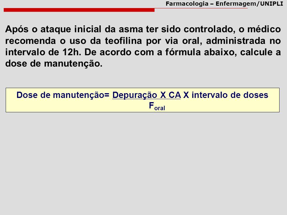 Dose de manutenção= Depuração X CA X intervalo de doses