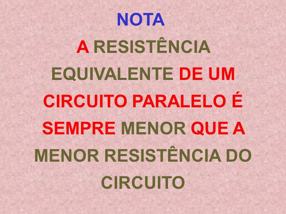 NOTA A RESISTÊNCIA EQUIVALENTE DE UM CIRCUITO PARALELO É SEMPRE MENOR QUE A MENOR RESISTÊNCIA DO CIRCUITO.