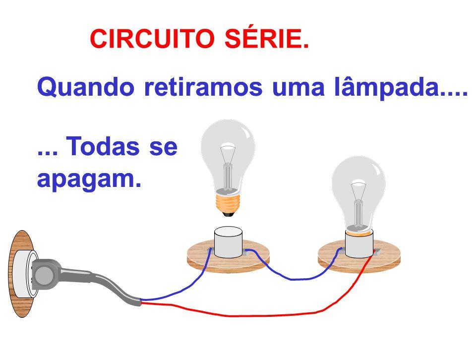 CIRCUITO SÉRIE. Quando retiramos uma lâmpada.... ... Todas se apagam.
