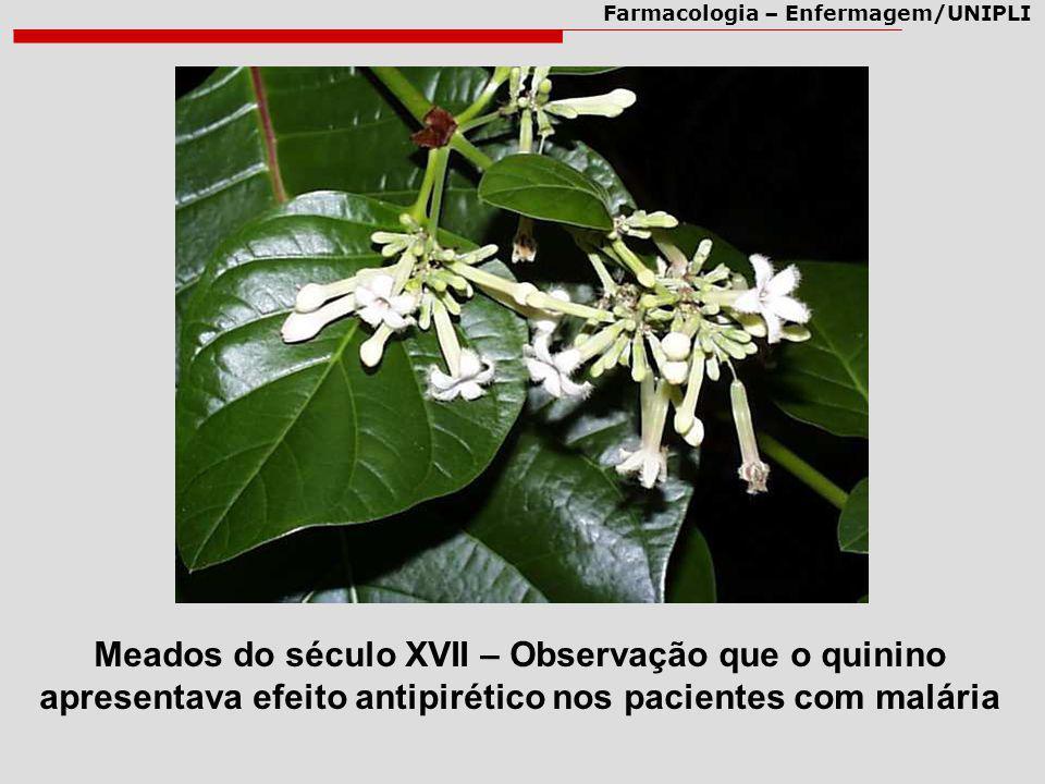 Meados do século XVII – Observação que o quinino apresentava efeito antipirético nos pacientes com malária