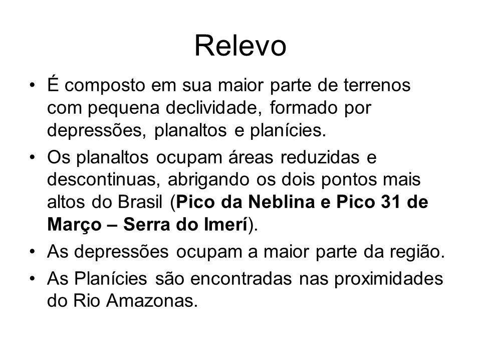 Relevo É composto em sua maior parte de terrenos com pequena declividade, formado por depressões, planaltos e planícies.