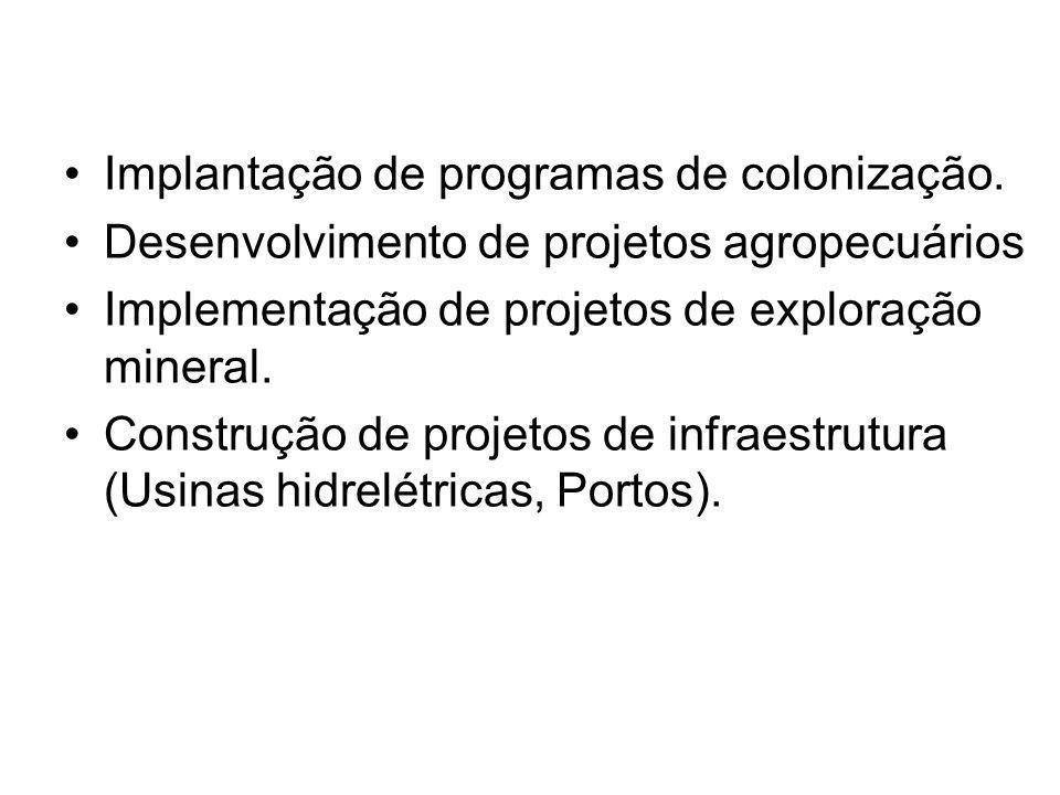 Implantação de programas de colonização.