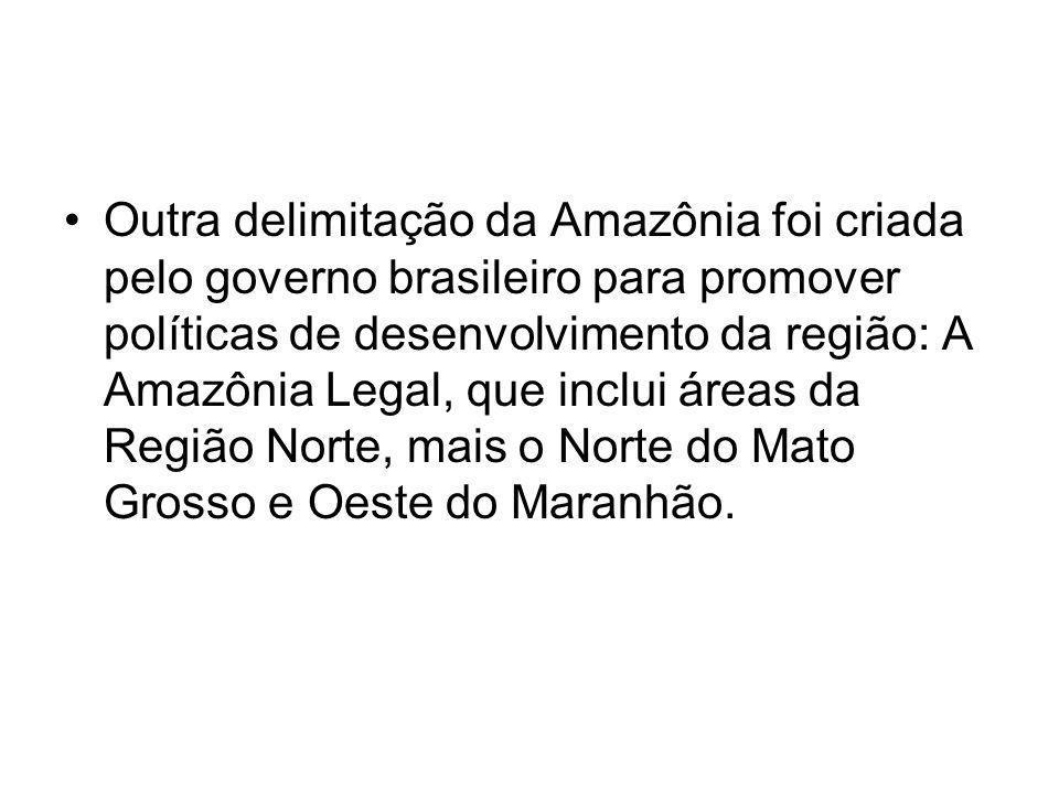 Outra delimitação da Amazônia foi criada pelo governo brasileiro para promover políticas de desenvolvimento da região: A Amazônia Legal, que inclui áreas da Região Norte, mais o Norte do Mato Grosso e Oeste do Maranhão.
