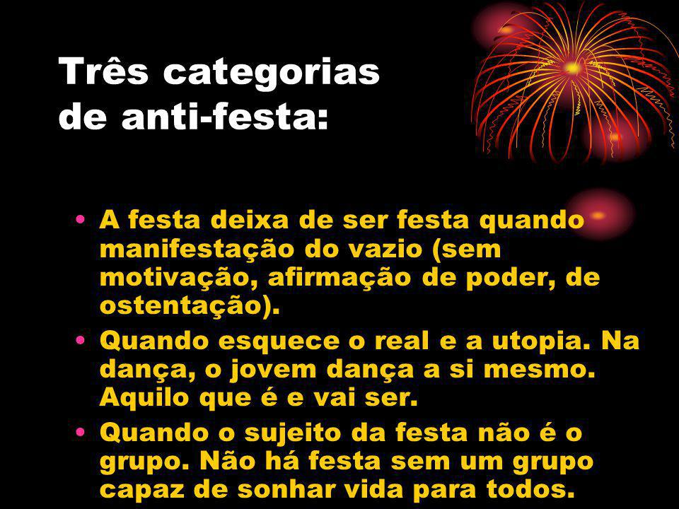 Três categorias de anti-festa: