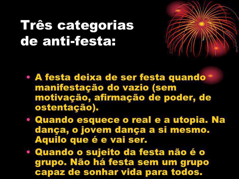 Três categorias de anti-festa: