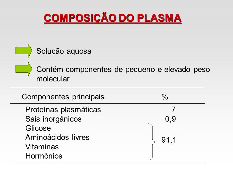 COMPOSIÇÃO DO PLASMA Solução aquosa