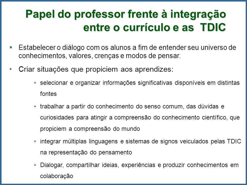 Papel do professor frente à integração entre o currículo e as TDIC