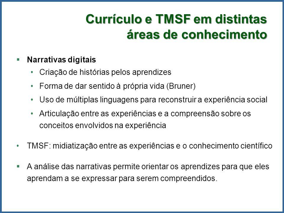Currículo e TMSF em distintas áreas de conhecimento