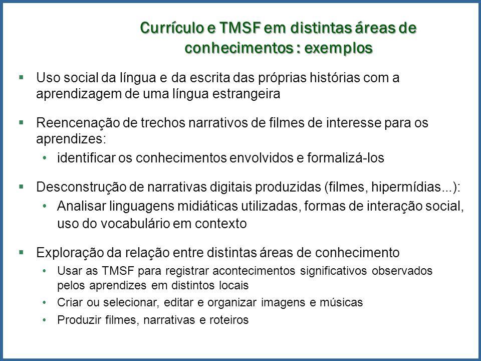 Currículo e TMSF em distintas áreas de conhecimentos : exemplos