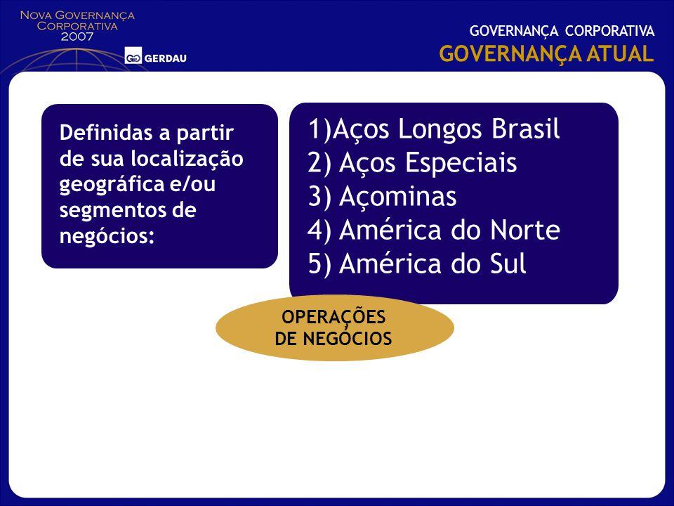 Aços Longos Brasil 2) Aços Especiais 3) Açominas 4) América do Norte