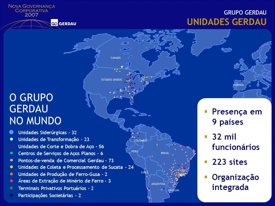 O GRUPO GERDAU NO MUNDO UNIDADES GERDAU Presença em 9 países