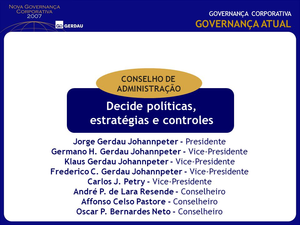Decide políticas, estratégias e controles