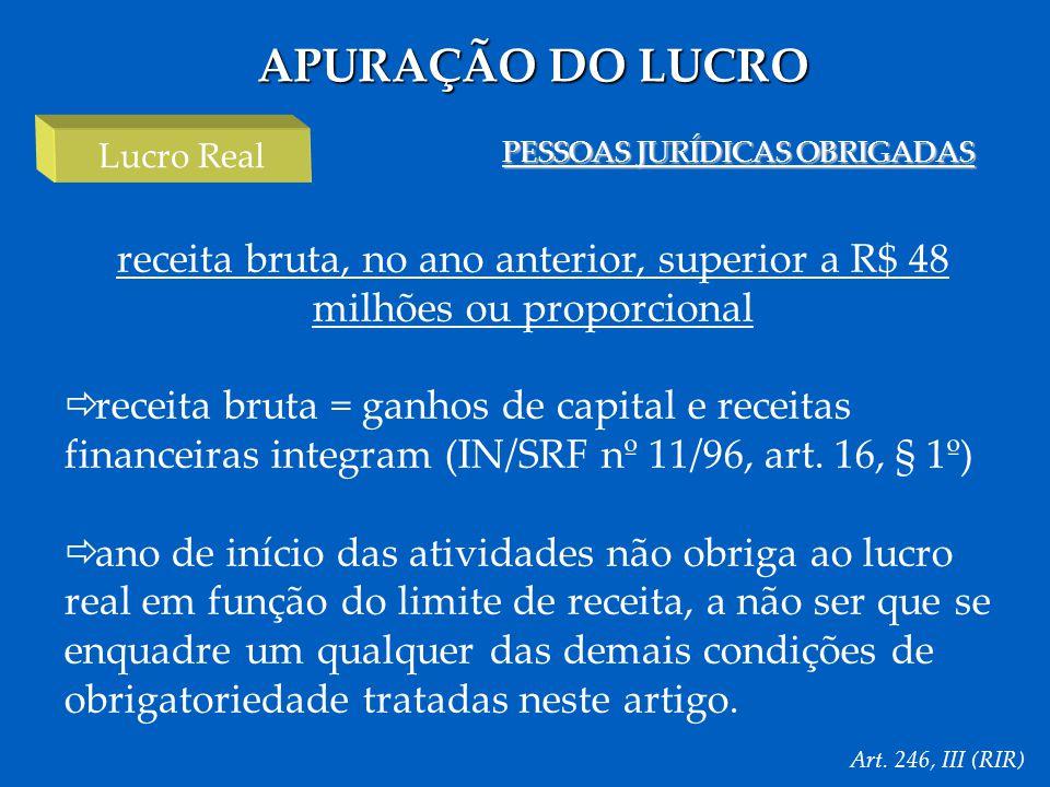 APURAÇÃO DO LUCRO Lucro Real. PESSOAS JURÍDICAS OBRIGADAS. receita bruta, no ano anterior, superior a R$ 48 milhões ou proporcional.