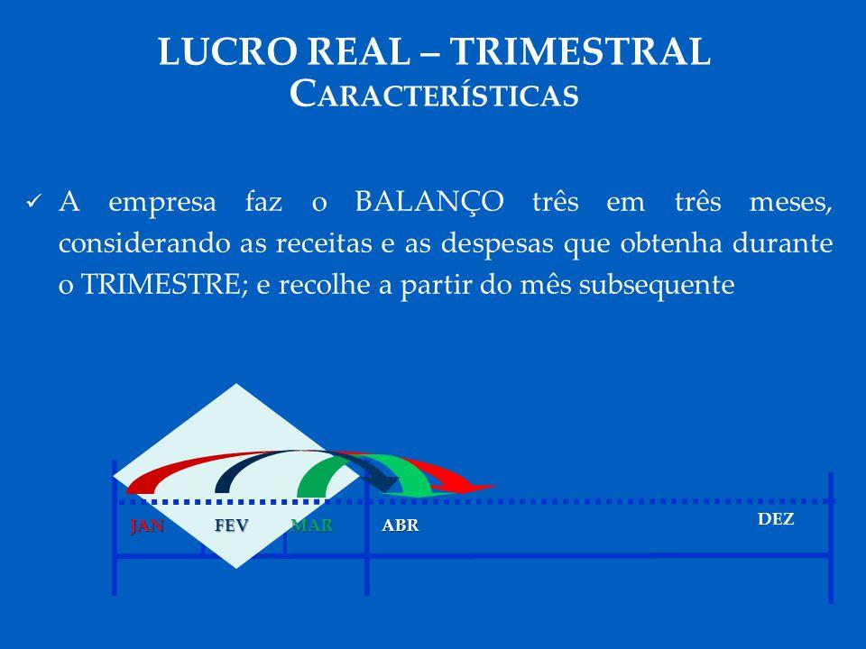 LUCRO REAL – TRIMESTRAL CARACTERÍSTICAS