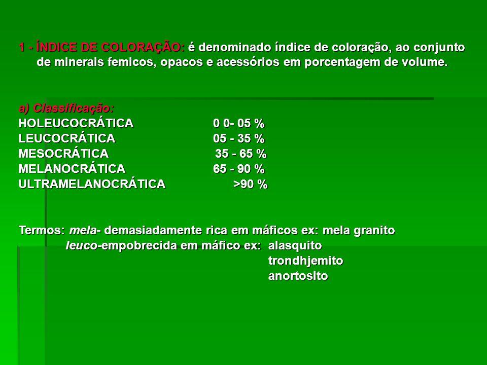 1 - ÍNDICE DE COLORAÇÃO: é denominado índice de coloração, ao conjunto de minerais femicos, opacos e acessórios em porcentagem de volume.