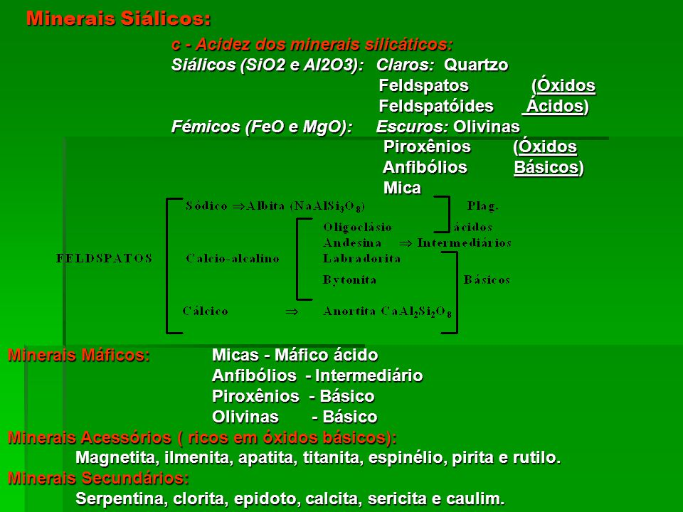 Minerais Siálicos: c - Acidez dos minerais silicáticos: