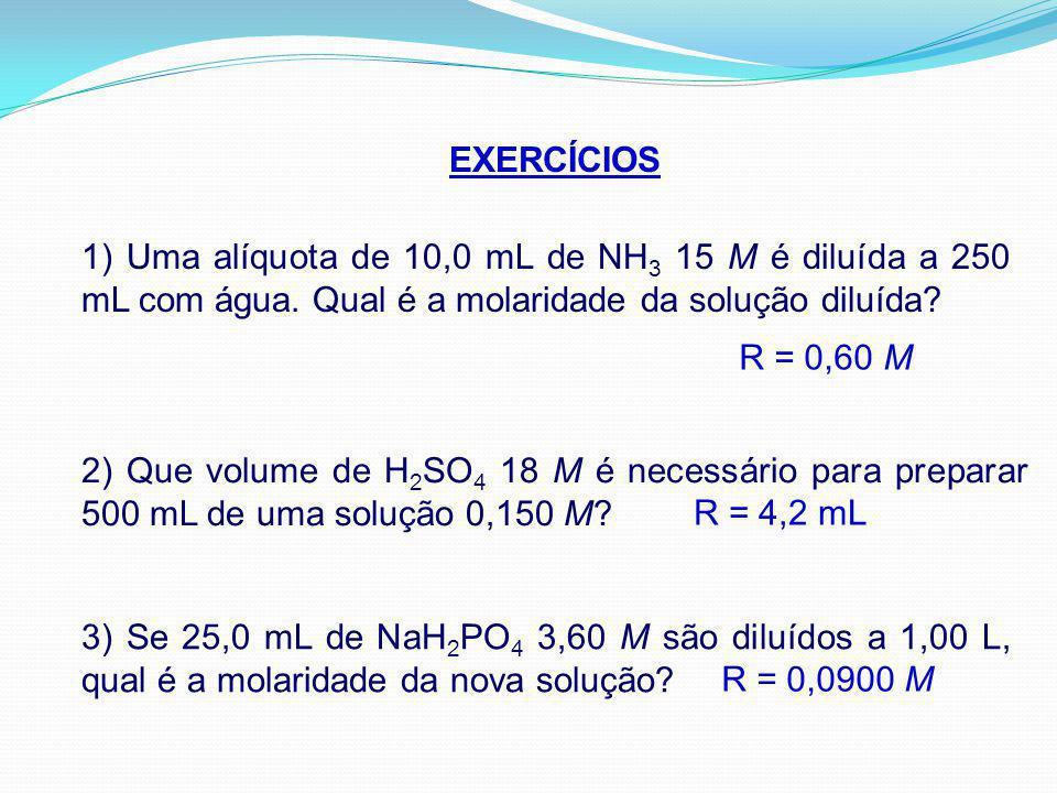 EXERCÍCIOS 1) Uma alíquota de 10,0 mL de NH3 15 M é diluída a 250 mL com água. Qual é a molaridade da solução diluída