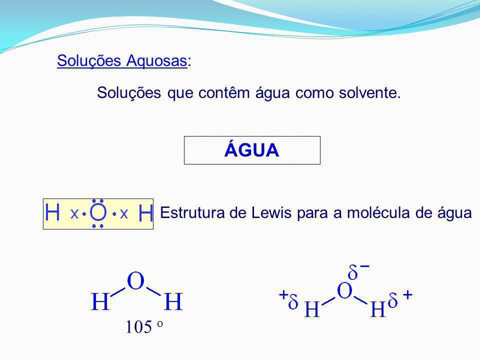 ÁGUA 105 o Soluções Aquosas: Soluções que contêm água como solvente.