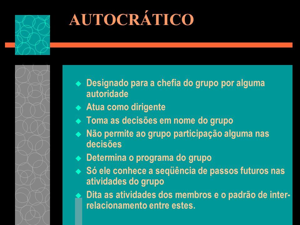 AUTOCRÁTICO Designado para a chefia do grupo por alguma autoridade