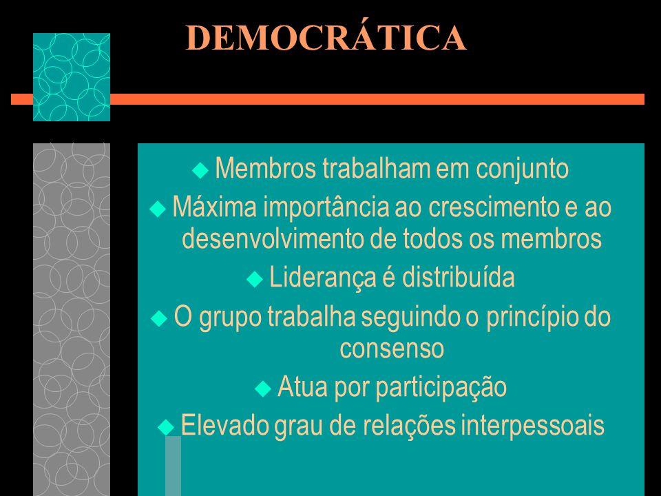DEMOCRÁTICA Membros trabalham em conjunto