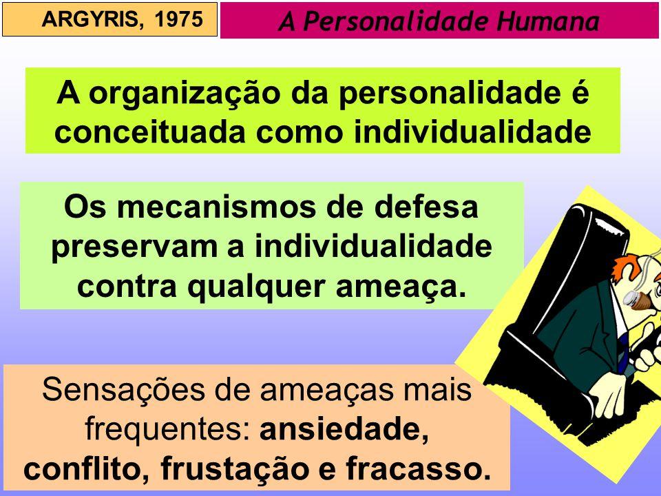 A organização da personalidade é conceituada como individualidade