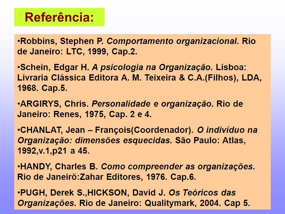 Referência: Robbins, Stephen P. Comportamento organizacional. Rio de Janeiro: LTC, 1999, Cap.2.