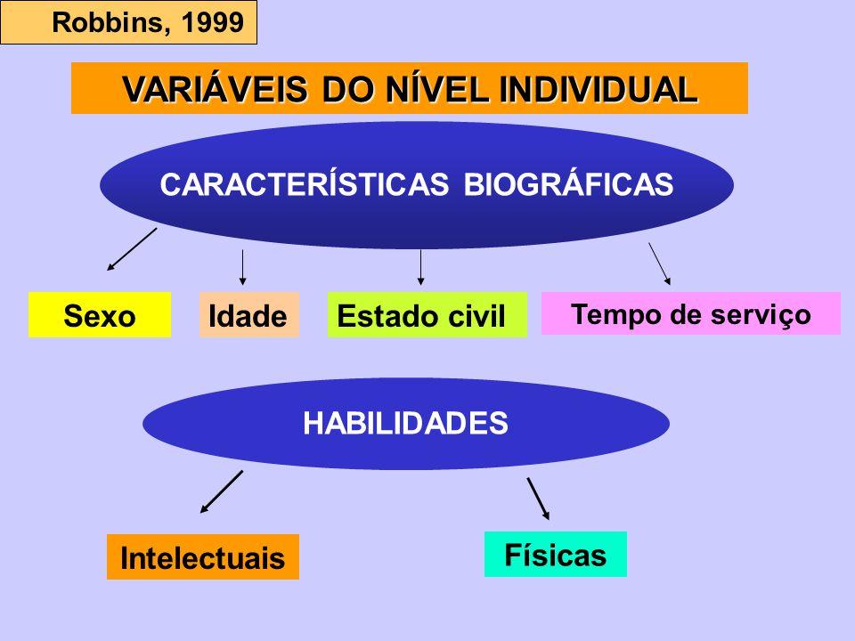 VARIÁVEIS DO NÍVEL INDIVIDUAL CARACTERÍSTICAS BIOGRÁFICAS
