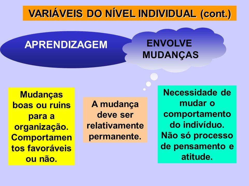 VARIÁVEIS DO NÍVEL INDIVIDUAL (cont.) APRENDIZAGEM