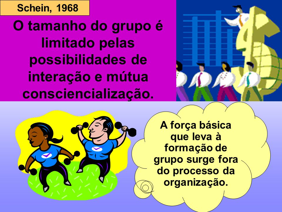 O tamanho do grupo é limitado pelas possibilidades de interação e mútua consciencialização.