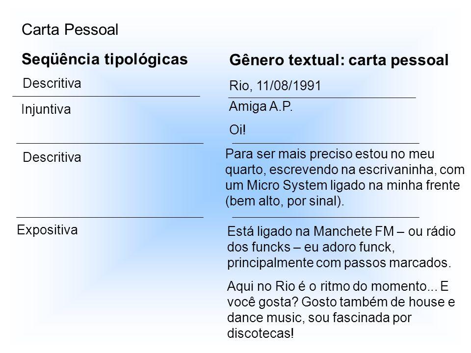Seqüência tipológicas Gênero textual: carta pessoal