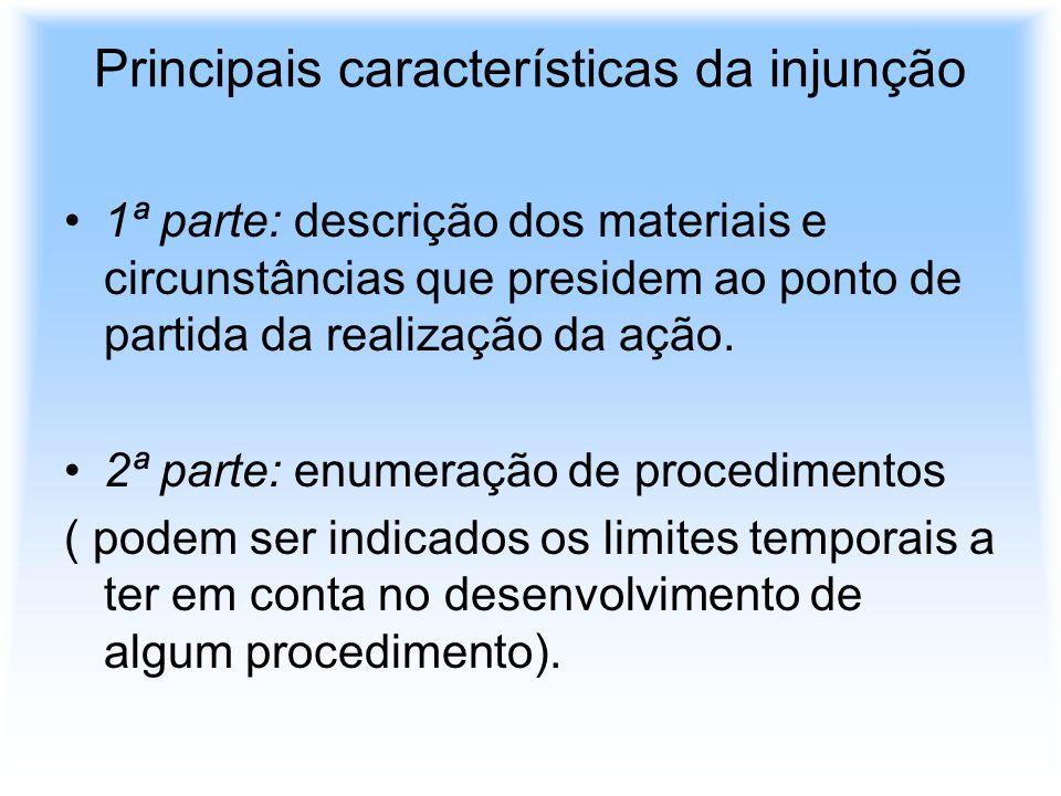Principais características da injunção