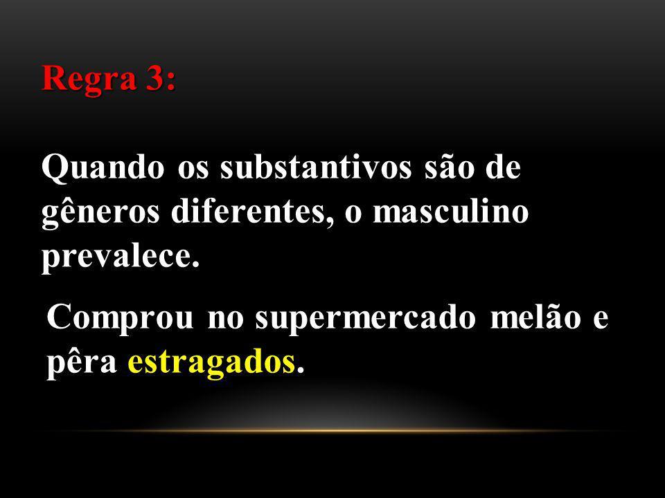 Regra 3: Quando os substantivos são de gêneros diferentes, o masculino prevalece.