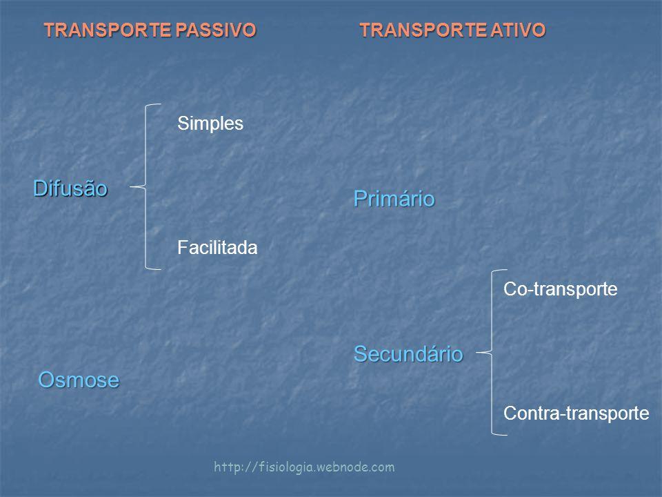 Difusão Primário Secundário Osmose TRANSPORTE PASSIVO TRANSPORTE ATIVO