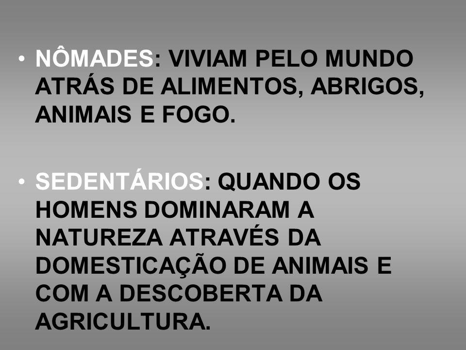 NÔMADES: VIVIAM PELO MUNDO ATRÁS DE ALIMENTOS, ABRIGOS, ANIMAIS E FOGO.