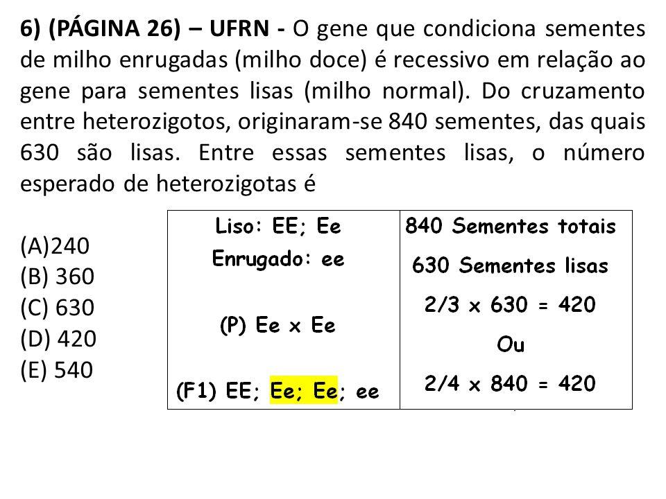 6) (PÁGINA 26) – UFRN - O gene que condiciona sementes de milho enrugadas (milho doce) é recessivo em relação ao gene para sementes lisas (milho normal). Do cruzamento entre heterozigotos, originaram-se 840 sementes, das quais 630 são lisas. Entre essas sementes lisas, o número esperado de heterozigotas é