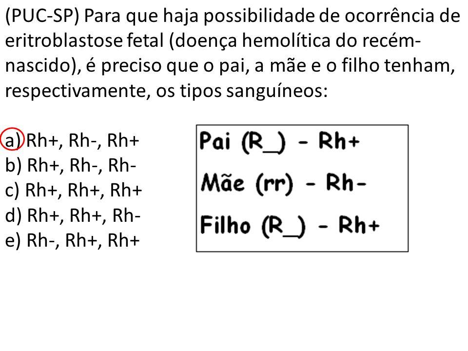 (PUC-SP) Para que haja possibilidade de ocorrência de eritroblastose fetal (doença hemolítica do recém-nascido), é preciso que o pai, a mãe e o filho tenham, respectivamente, os tipos sanguíneos: a) Rh+, Rh-, Rh+ b) Rh+, Rh-, Rh- c) Rh+, Rh+, Rh+ d) Rh+, Rh+, Rh- e) Rh-, Rh+, Rh+