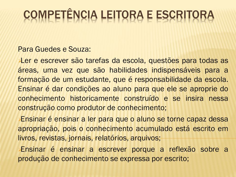 Competência leitora e escritora