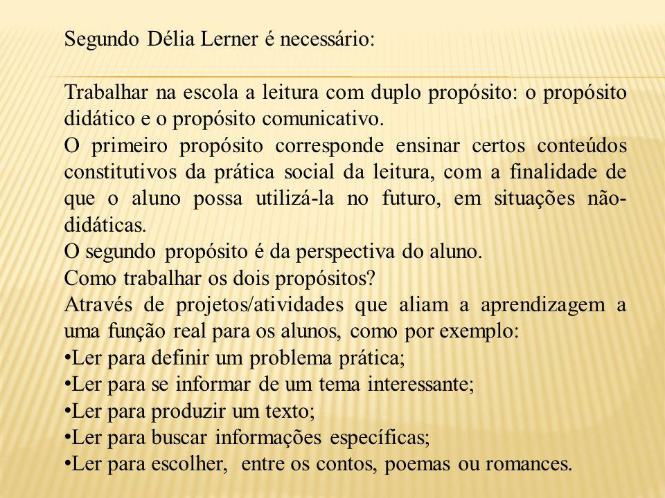 Segundo Délia Lerner é necessário: