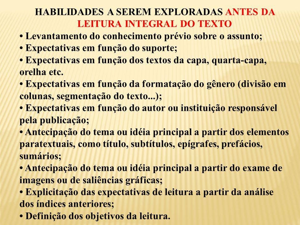 HABILIDADES A SEREM EXPLORADAS ANTES DA LEITURA INTEGRAL DO TEXTO