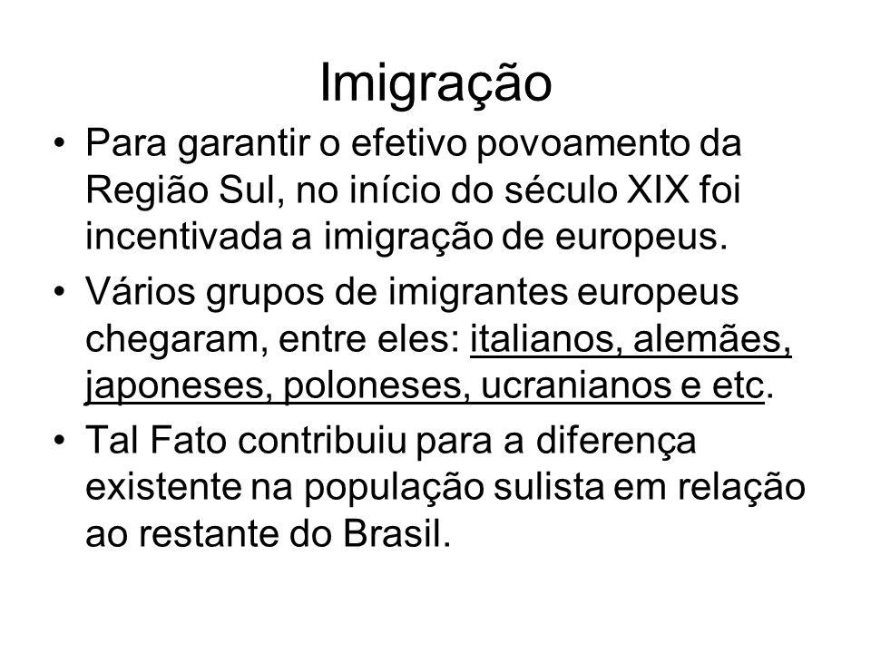 Imigração Para garantir o efetivo povoamento da Região Sul, no início do século XIX foi incentivada a imigração de europeus.
