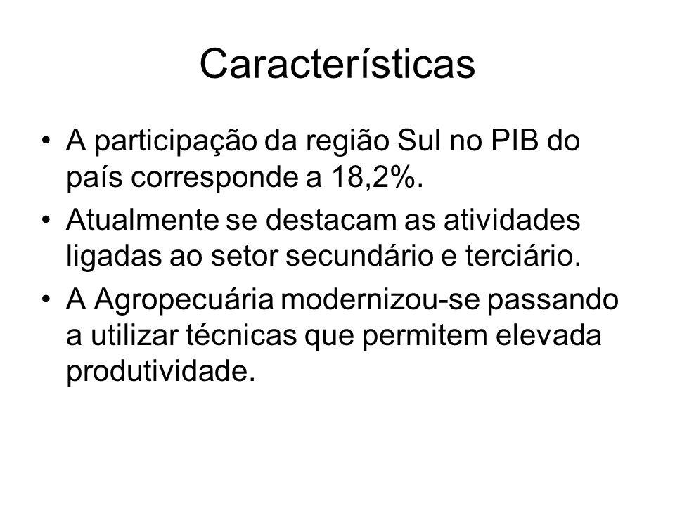 Características A participação da região Sul no PIB do país corresponde a 18,2%.